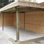 Ensemble carport abri de jardin mural à toit plat