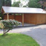 Ensemble garage carport toit deux versants couverture en ardoises
