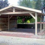 Double carport toit 2 versants fermé d'un coté