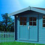 Abri de jardin avec double porte vitrée peint en bleu