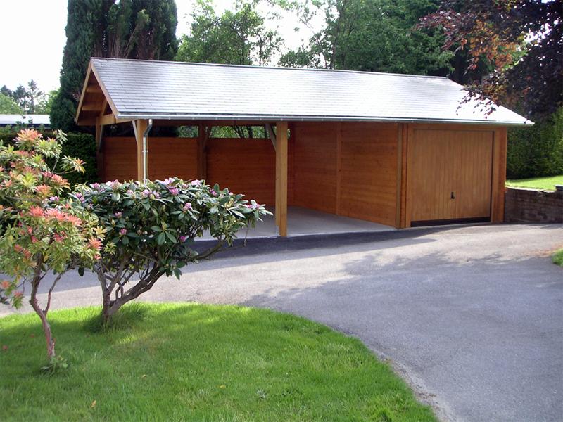 Garages bois préfabriqués toit plat abri voiture simple double ...