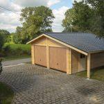 Double garage en bois avec appentis et panneaux tuiles