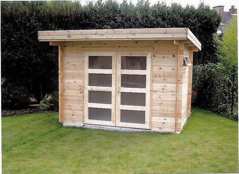 abris jardin toit plat moderne chalets bois qualit sur mesure decochalet. Black Bedroom Furniture Sets. Home Design Ideas