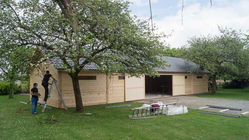 montage et finitions hangar garage en bois