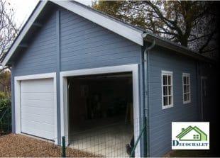 Double garage en bois avec mezzanine