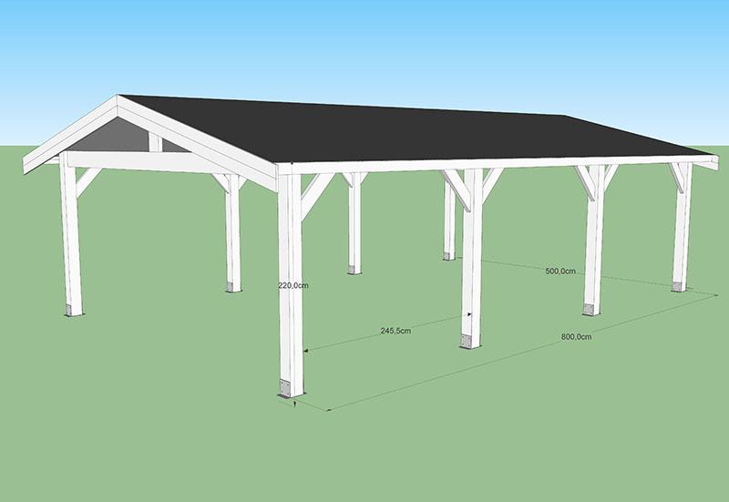 carport toit 2 versants 40m2 CODT