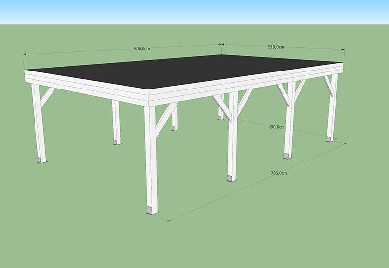 carport toit plat 40m2 CODT